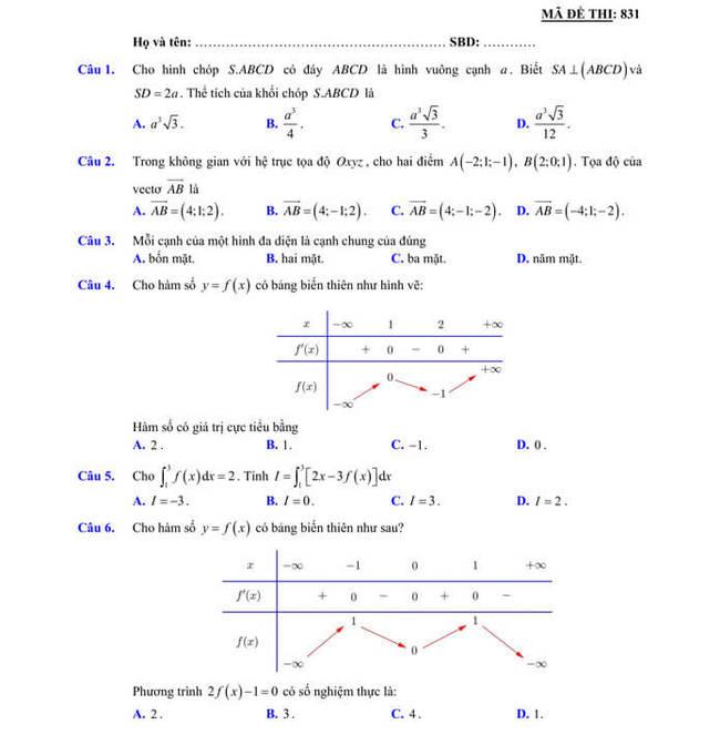 đề thi thử tốt nghiệp THPT 2020 môn Toán sở GD & ĐT Lạng Sơn trang 1