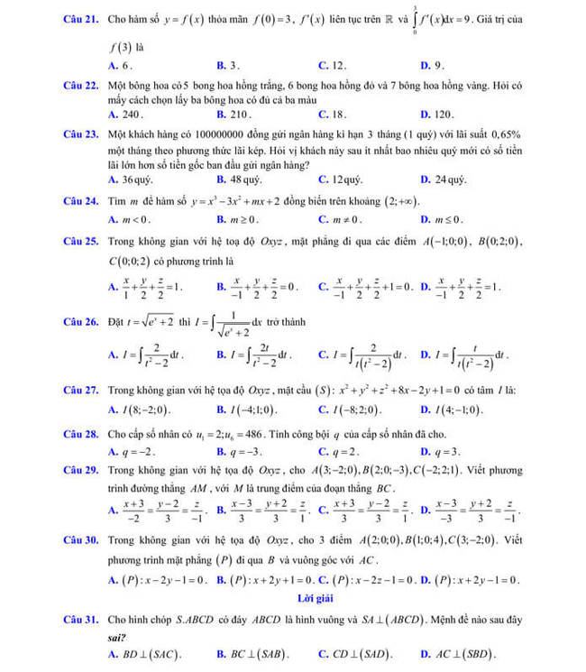 đề thi thử tốt nghiệp THPT 2020 môn Toán sở GD & ĐT Lạng Sơn trang 4