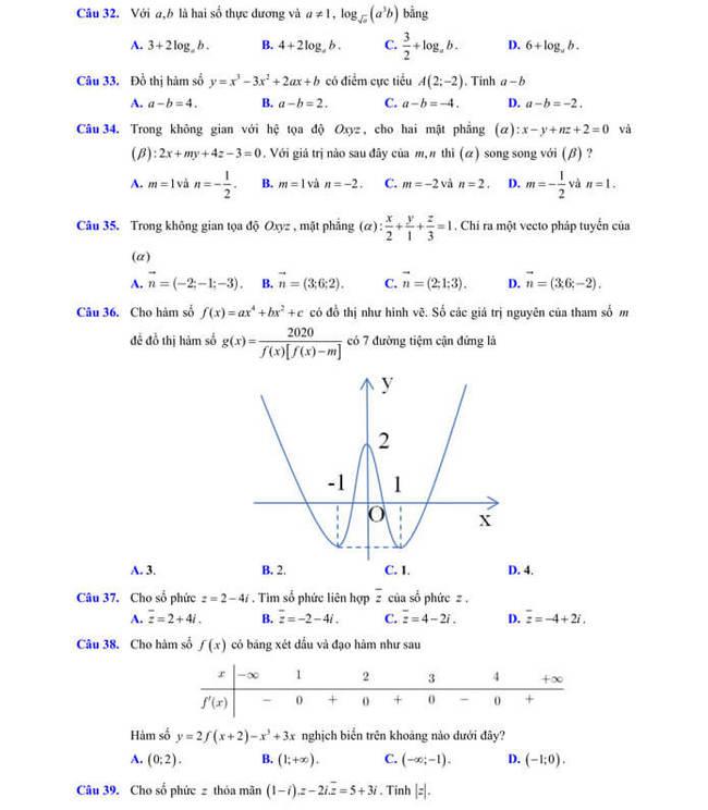 đề thi thử tốt nghiệp THPT 2020 môn Toán sở GD & ĐT Lạng Sơn trang 5