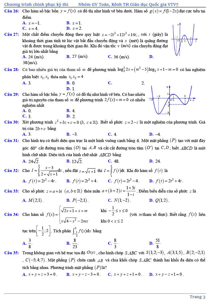 đề thi thử tốt nghiệp THPT môn Toán năm 2020 của VTV7 số 3 trang 3
