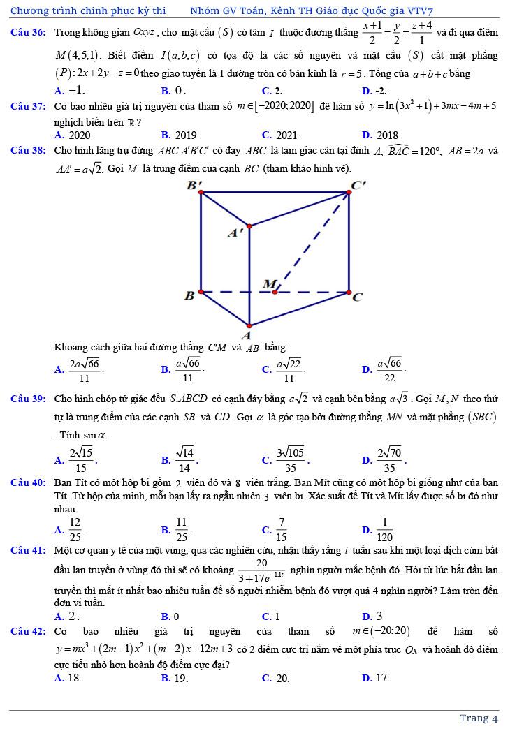 đề thi thử tốt nghiệp THPT môn Toán năm 2020 của VTV7 số 3 trang 4