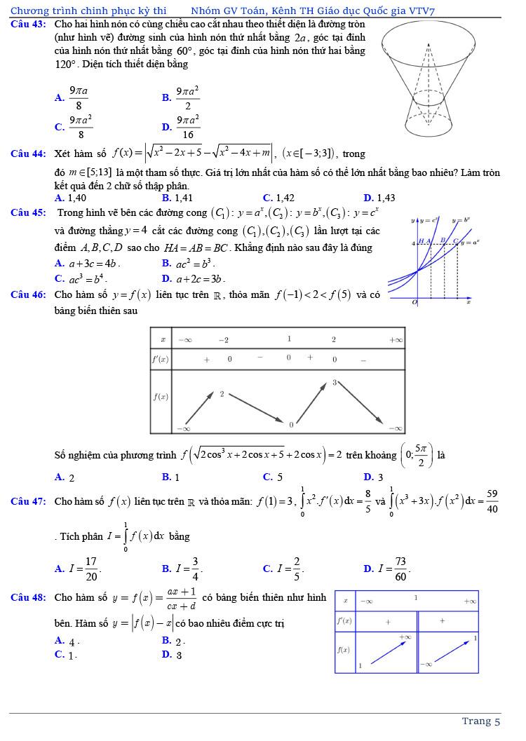 đề thi thử tốt nghiệp THPT môn Toán năm 2020 của VTV7 số 3 trang 5