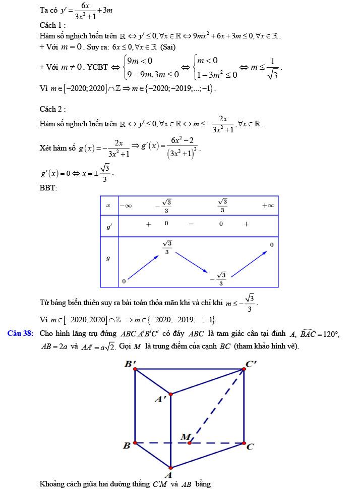 Giải đề thi thử tốt nghiệp THPT môn Toán năm 2020 của VTV7 số 3 trang 10