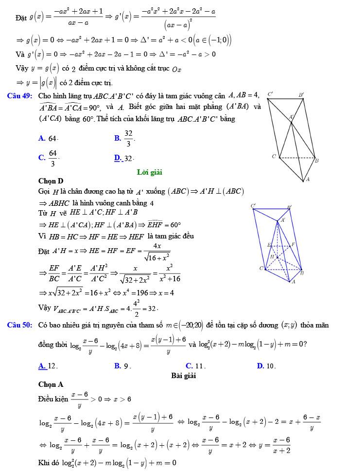 Giải đề thi thử tốt nghiệp THPT môn Toán năm 2020 của VTV7 số 3 trang 18