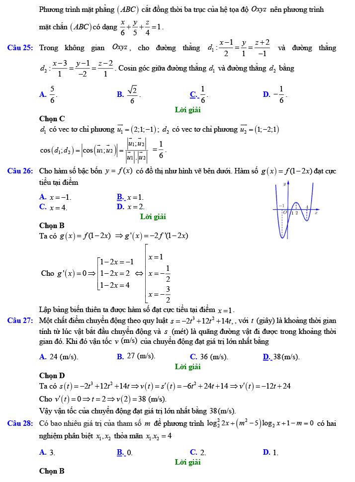 Giải đề thi thử tốt nghiệp THPT môn Toán năm 2020 của VTV7 số 3 trang 6