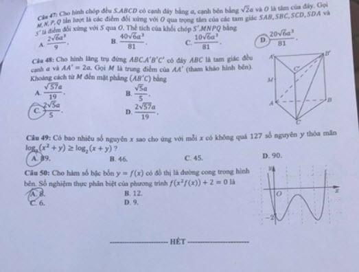 Đáp án mã đề 103 môn Toán tốt nghiệp THPT 2020 trang 5