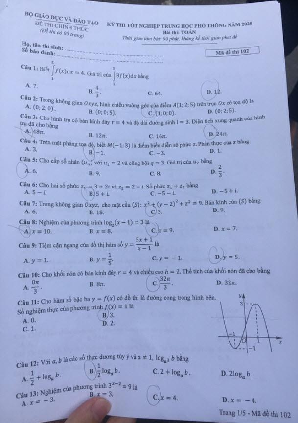 Đề thi Toán mã đề 102 và đáp án trang 1