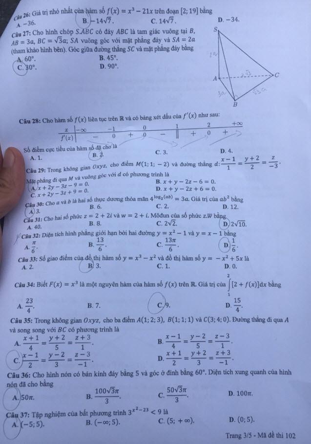 Đề thi Toán mã đề 102 và đáp án trang 3