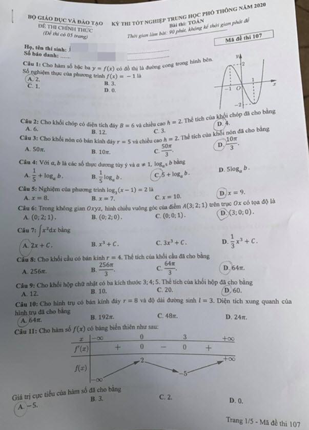 Đề thi Toán mã đề 107 và đáp án trang 1