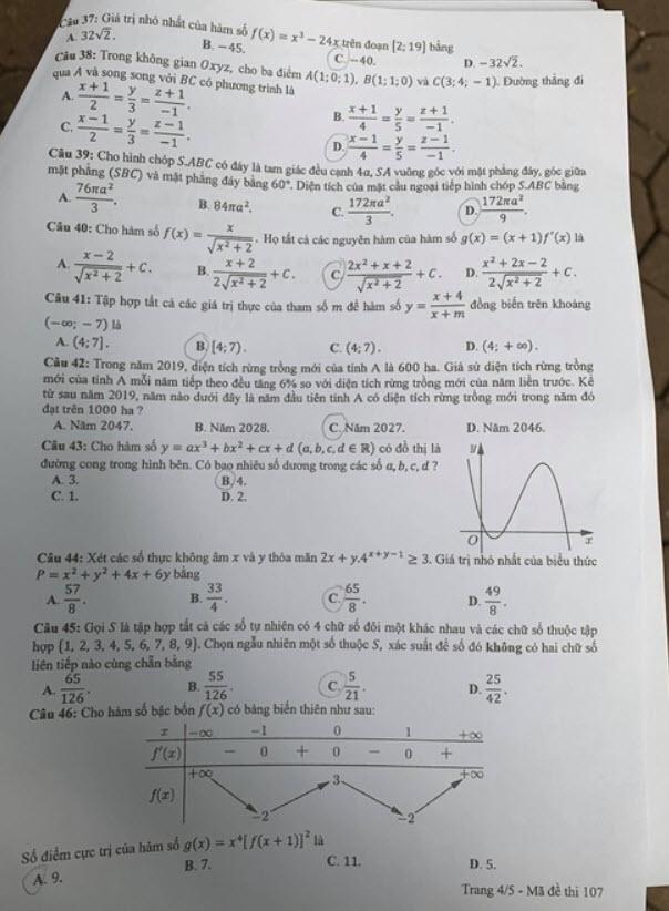 Đề thi Toán mã đề 107 và đáp án trang 4