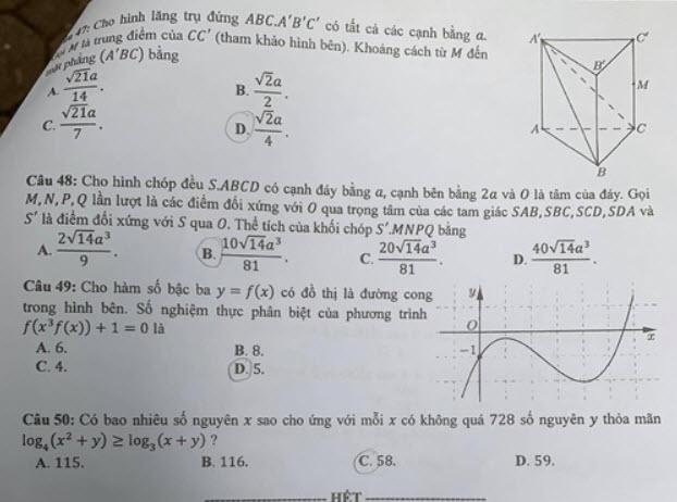 Đề thi Toán mã đề 107 và đáp án trang 5
