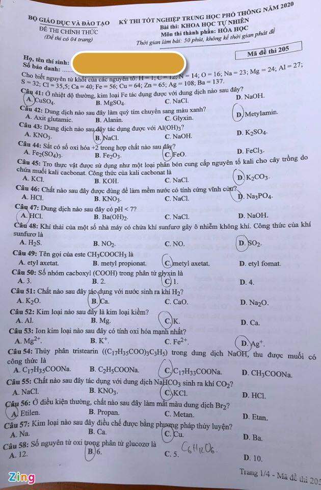 Đáp án mã đề 205 môn Hóa tốt nghiệp THPT 2020 trang 1