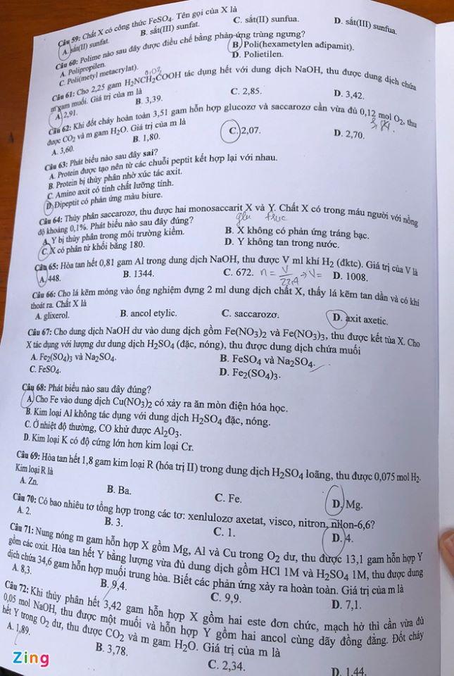 Đáp án mã đề 205 môn Hóa tốt nghiệp THPT 2020 trang 2
