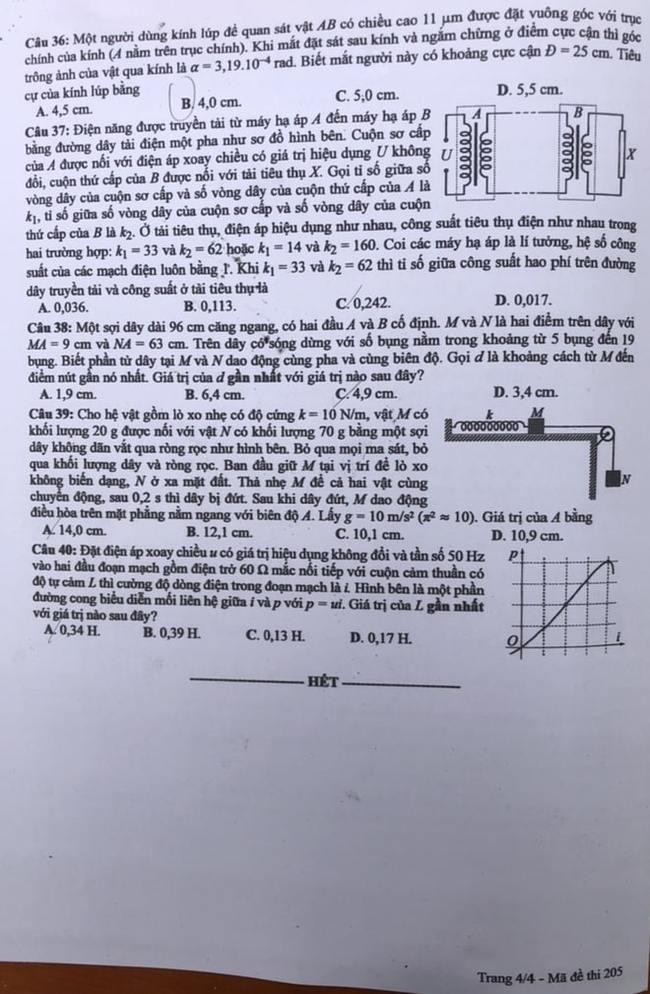 Đề thi Lý mã 205 tốt nghiệp THPT 2020 trang 4