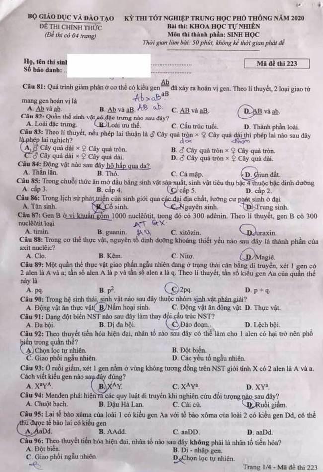 Trang 1 mã đề 223 môn Sinh tốt nghiệp THPT 2020