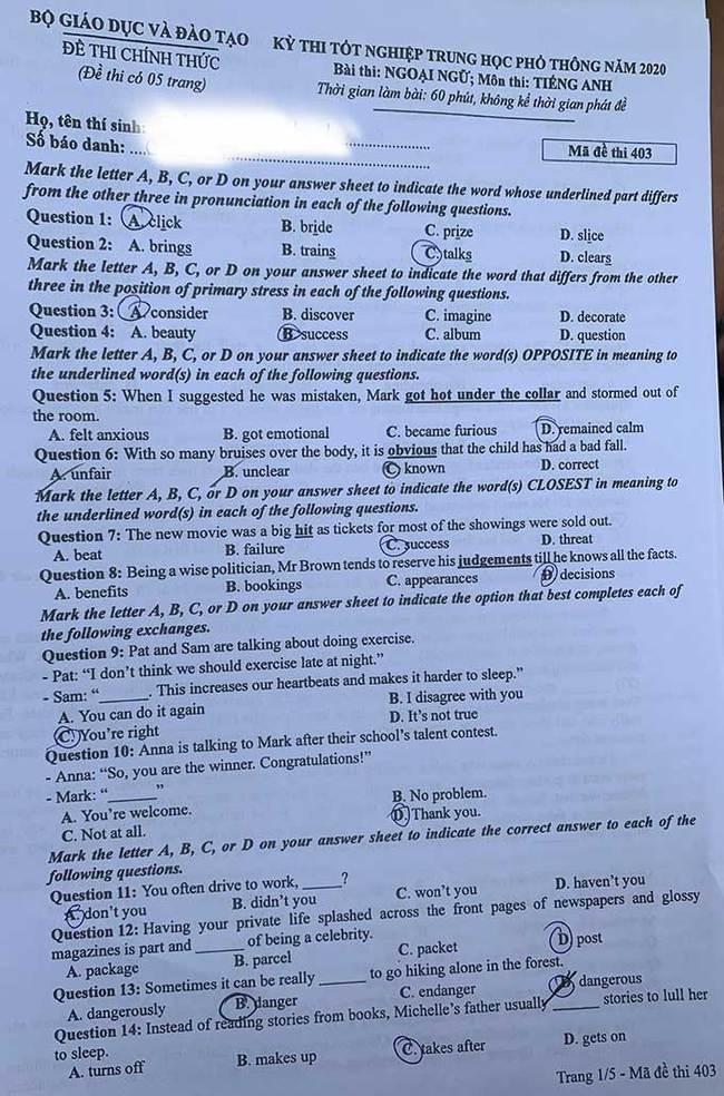 Trang 1 đề thi tốt nghiệp THPT 2020 môn Anh mã đề 403