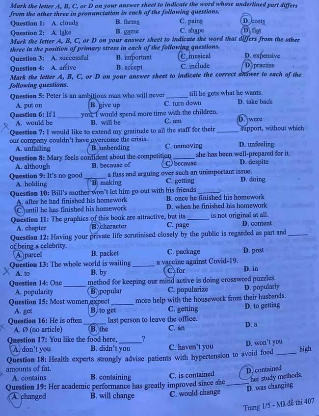 Trang 1 đề thi tốt nghiệp THPT 2020 môn Anh mã đề 407