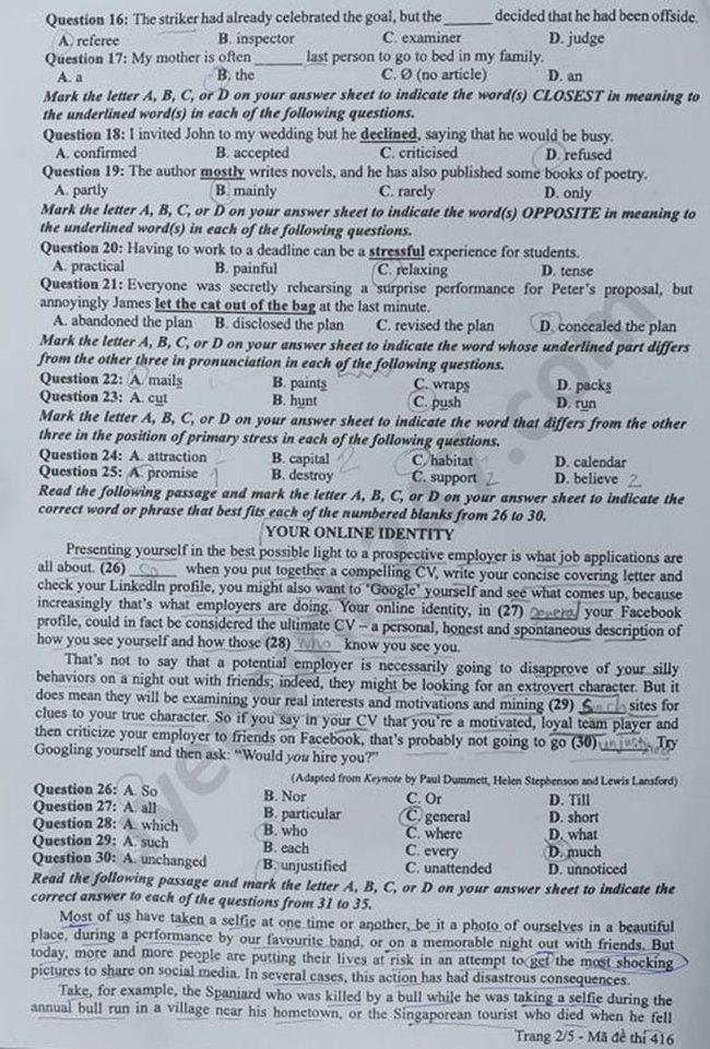 Trang 2 đề thi Anh mã 416 tốt nghiệp THPT 2020