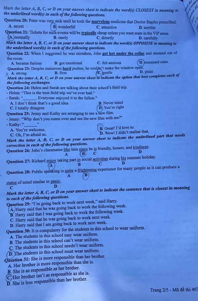Trang 2 đề thi tốt nghiệp THPT 2020 môn Anh mã đề 407