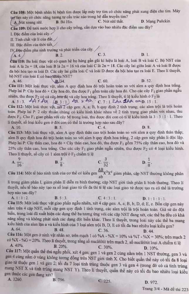 Trang 3 mã đề 223 môn Hóa tốt nghiệp THPT 2020