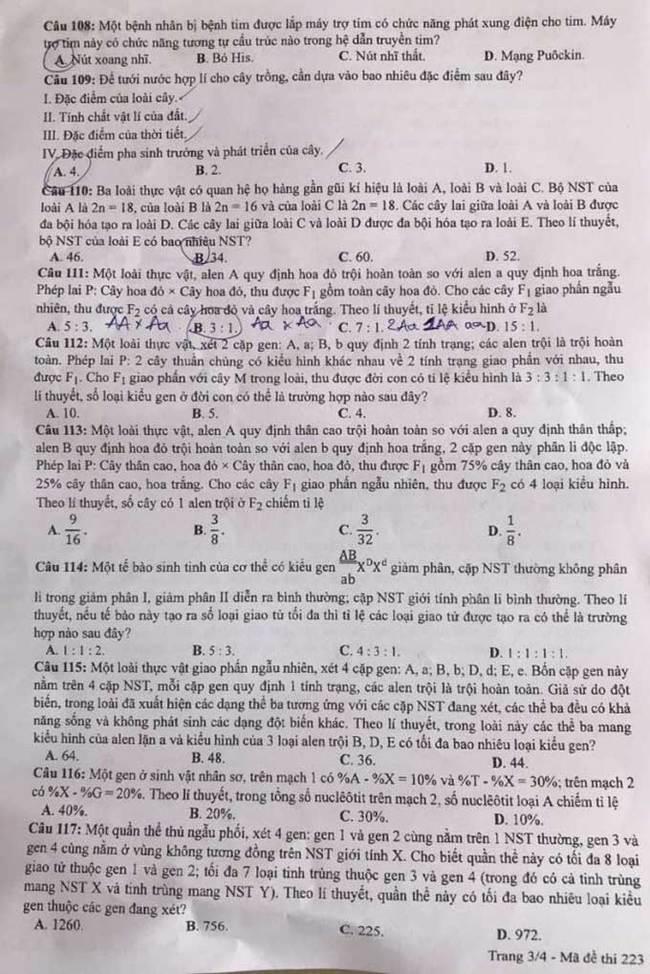 Trang 3 mã đề 223 môn Sinh tốt nghiệp THPT 2020