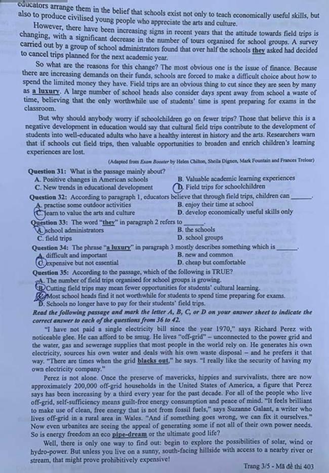 Trang 3 đề thi tốt nghiệp THPT 2020 môn Anh mã đề 403