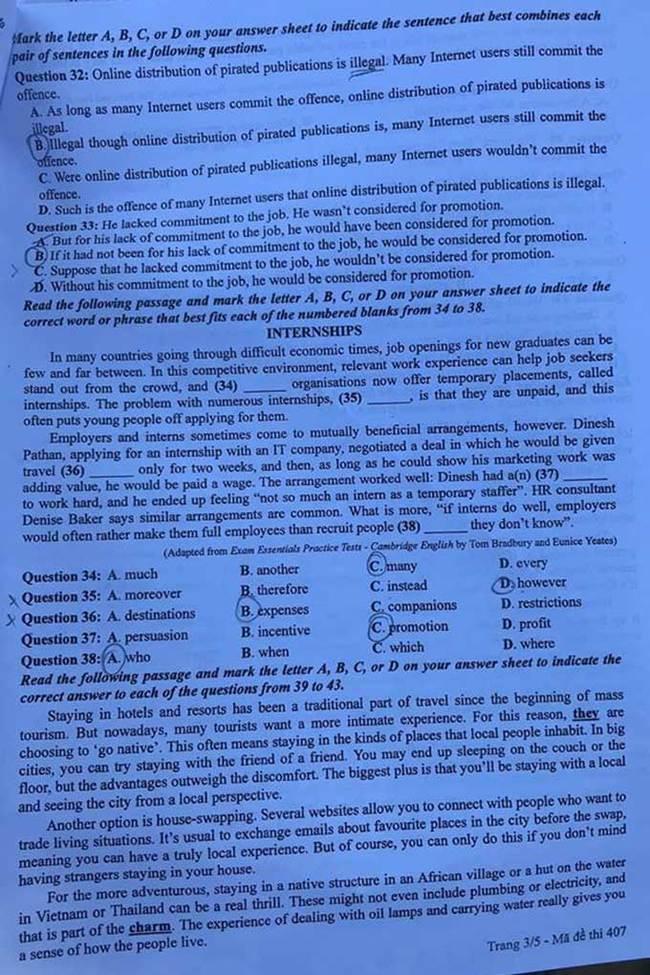 Trang 3 đề thi tốt nghiệp THPT 2020 môn Anh mã đề 407