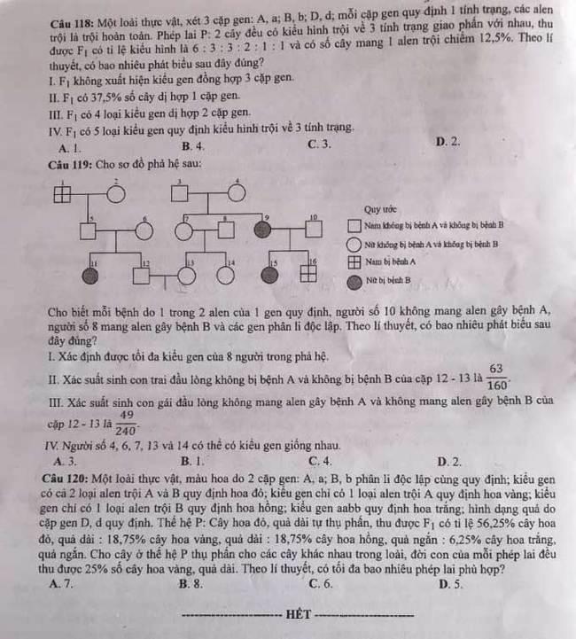 Trang 4 mã đề 223 môn Hóa tốt nghiệp THPT 2020