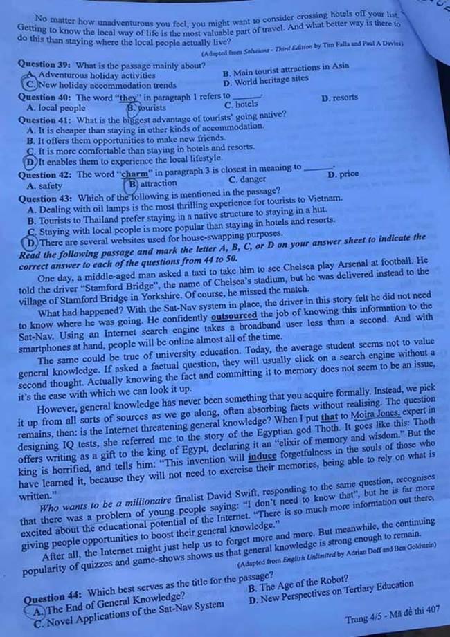 Trang 4 đề thi tốt nghiệp THPT 2020 môn Anh mã đề 407