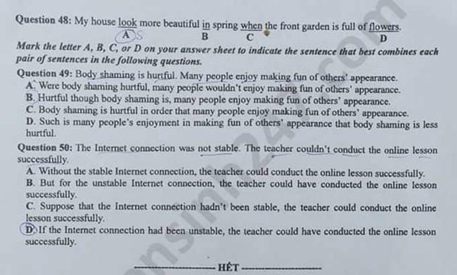 Trang 5 đề thi Anh mã 416 tốt nghiệp THPT 2020