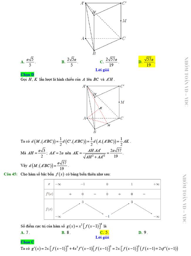 Giải chi tiết mã đề 102 môn Toán tốt nghiệp THPT 2020 trang 10