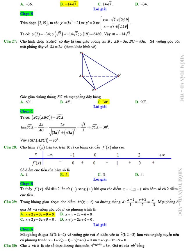 Giải chi tiết mã đề 102 môn Toán tốt nghiệp THPT 2020 trang 5