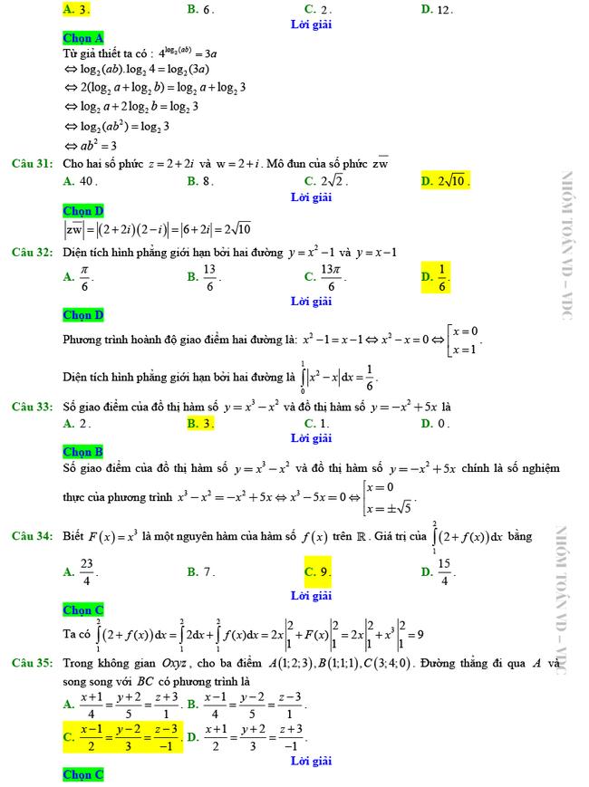 Giải chi tiết mã đề 102 môn Toán tốt nghiệp THPT 2020 trang 6