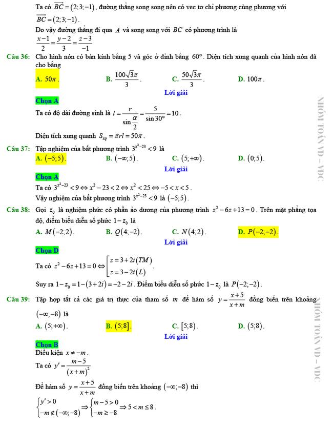 Giải chi tiết mã đề 102 môn Toán tốt nghiệp THPT 2020 trang 7