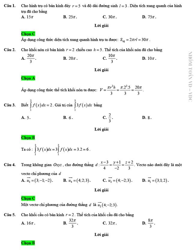 Giải chi tiết mã đề 103 môn Toán tốt nghiệp THPT 2020 trang 1
