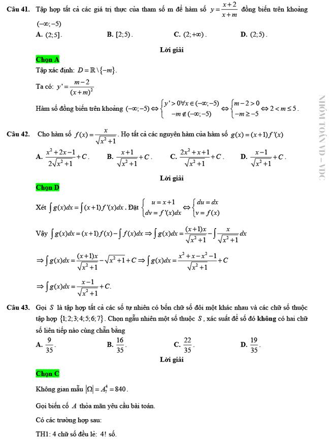 Giải chi tiết mã đề 103 môn Toán tốt nghiệp THPT 2020 trang 10
