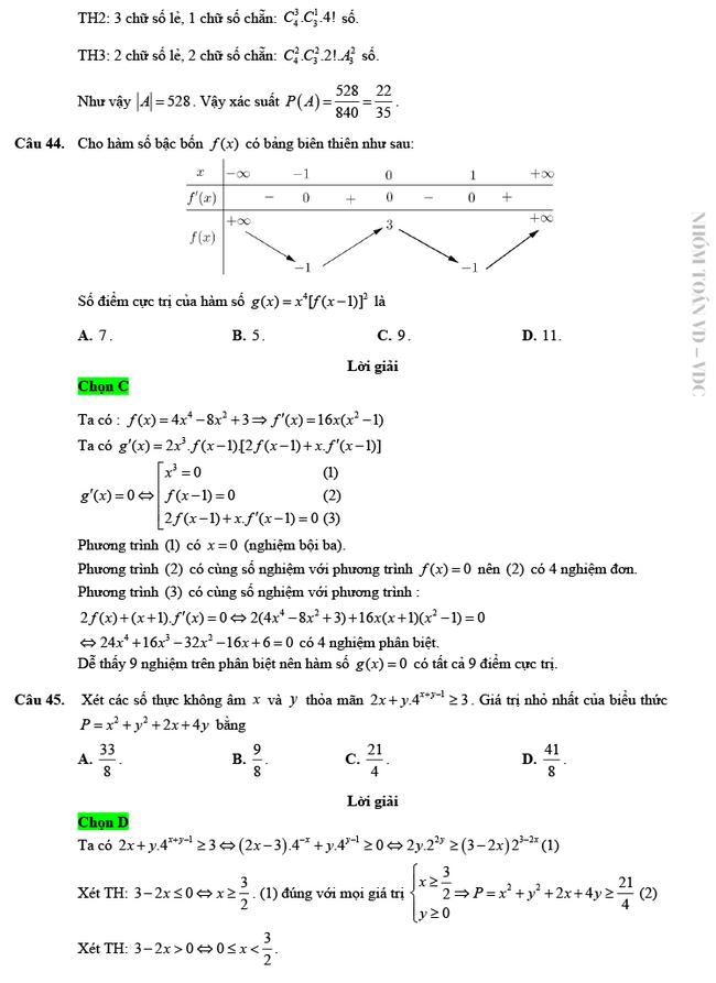 Giải chi tiết mã đề 103 môn Toán tốt nghiệp THPT 2020 trang 11