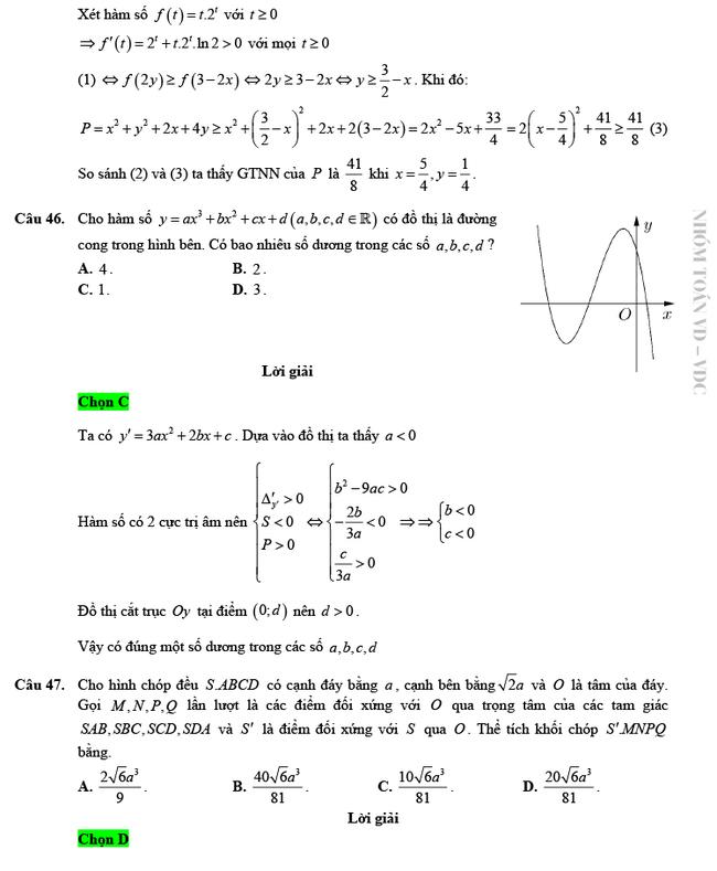 Giải chi tiết mã đề 103 môn Toán tốt nghiệp THPT 2020 trang 12