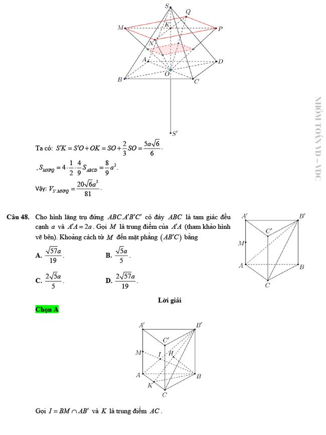 Giải chi tiết mã đề 103 môn Toán tốt nghiệp THPT 2020 trang 13