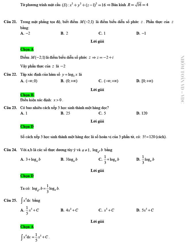 Giải chi tiết mã đề 103 môn Toán tốt nghiệp THPT 2020 trang 5