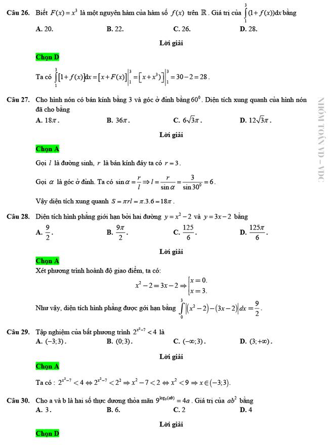 Giải chi tiết mã đề 103 môn Toán tốt nghiệp THPT 2020 trang 6