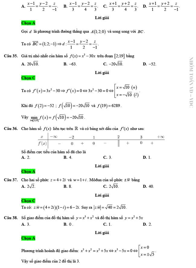 Giải chi tiết mã đề 103 môn Toán tốt nghiệp THPT 2020 trang 8