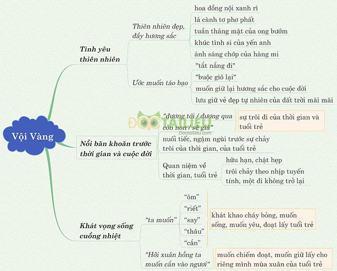 Sơ đồ tư duy phân tích bài thơ Vội vàng Xuân Diệu