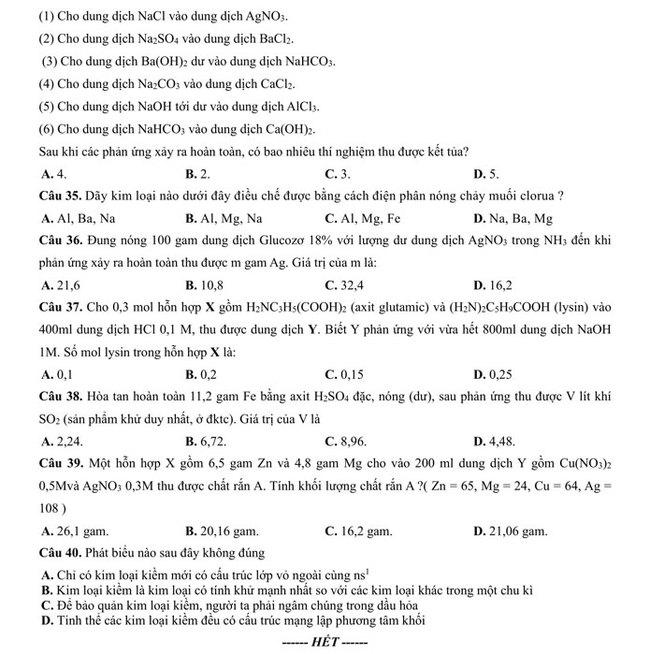Đề thi thử THPT Quốc gia 2020 môn Hoá - THPT Yên Phong 1 trang 4
