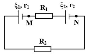 Cho mạch điện có sơ đồ như hình vẽ. Biết xi _1 = 24V;r_1 = 1Omega ;xi _2 = hình ảnh