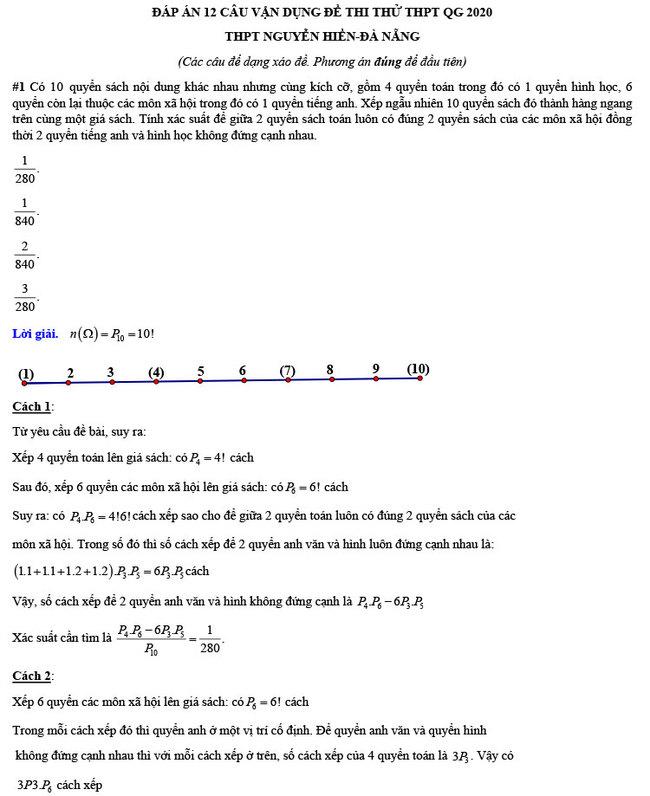 đáp án đề thi thử THPT Quốc gia 2020 môn Toán Nguyễn Hiền trang 2