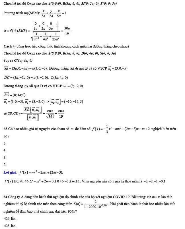 đáp án đề thi thử THPT Quốc gia 2020 môn Toán Nguyễn Hiền trang 4