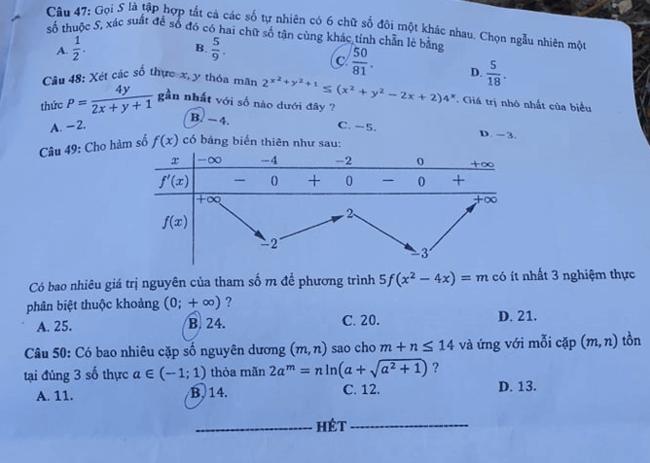 Đề thi tốt nghiệp THPT môn Toán đợt 2 mã đề 107 trang 5