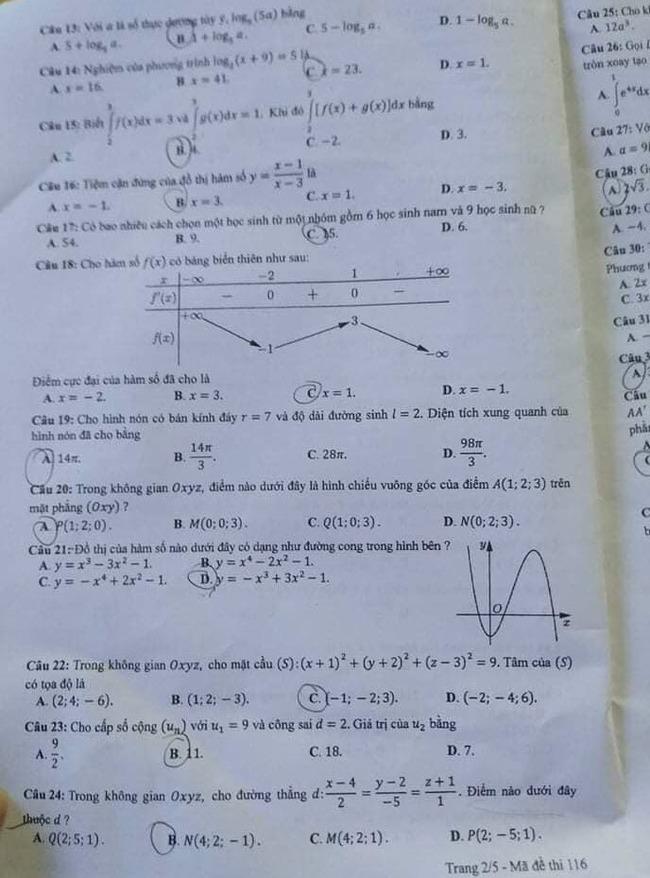 Đề thi tốt nghiệp THPT môn Toán đợt 2 mã đề 116 trang 2