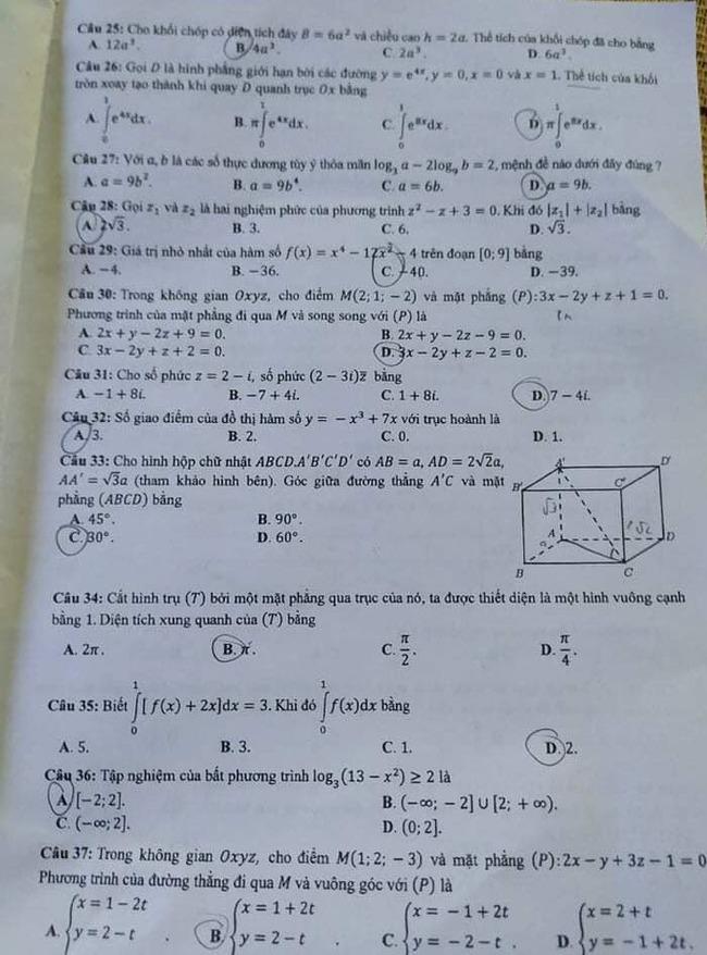 Đề thi tốt nghiệp THPT môn Toán đợt 2 mã đề 116 trang 3